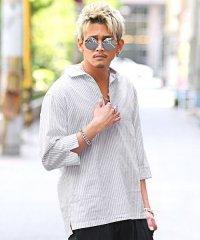 綿麻ストライプ7分袖カプリシャツ/シャツ メンズ 7分袖 5分袖 カプリシャツ 綿麻 リネン ストライプ