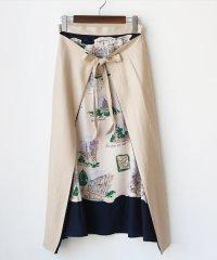 3WAY絵画プリントスカーフラップスカート