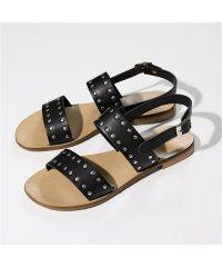 【FABIO RUSCONI(ファビオルスコーニ)】DG13 VACC レザー 丸スタッズ装飾 ストラップサンダル ローヒール フラットサンダル NERA 靴