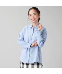 シャツ カジュアル 長袖 レギュラー衿 麻100% レディース ウィメンズ