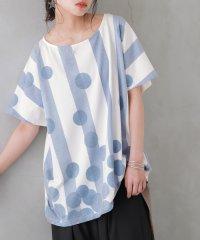 『kOhAKUドット×ストライプTシャツ』