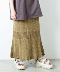 【セットアップ対応商品】透かし編みニットスカート