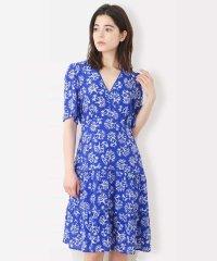 【シルク】サンゴプリントティアードドレス