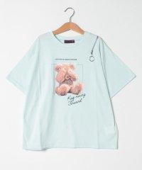 ベアプリント肩ファスナーTシャツ