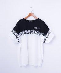 アニマル柄ライン カラーブロッキングTシャツ