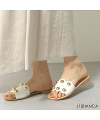 【FABIO RUSCONI(ファビオルスコーニ)】DG10 VACC カラー3色 丸スタッズ装飾 レザー サンダル ミュール ローヒール フラットシューズ 靴
