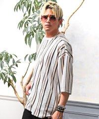 ストライプオーバーTシャツ/Tシャツ メンズ 半袖 5分袖 ビッグシルエット ストライプ柄 ビター系 BITTER