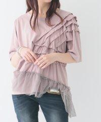 『somari異素材フリルメッシュTシャツ』