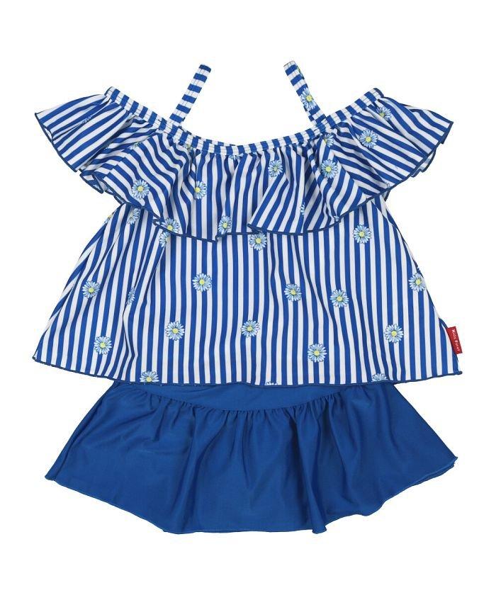 (Kids Foret/キッズフォーレ)【子供服】 KidS Foret (キッズフォーレ) ストライプ柄セパレート水着・スイムウェア 80cM〜130cM B33820/キッズ ブルー