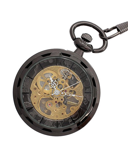 (SP/エスピー)懐中時計 PWA001−BLK ポケットウォッチ 手巻き 機械式時計 メンズ時計/メンズ ブラック系