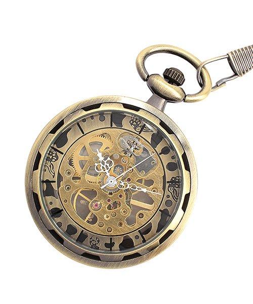 (SP/エスピー)懐中時計 PWA001−BLK ポケットウォッチ 手巻き 機械式時計 メンズ時計/メンズ ゴールド系