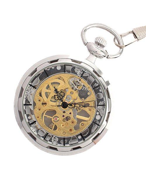 (SP/エスピー)懐中時計 PWA001−BLK ポケットウォッチ 手巻き 機械式時計 メンズ時計/メンズ シルバー系