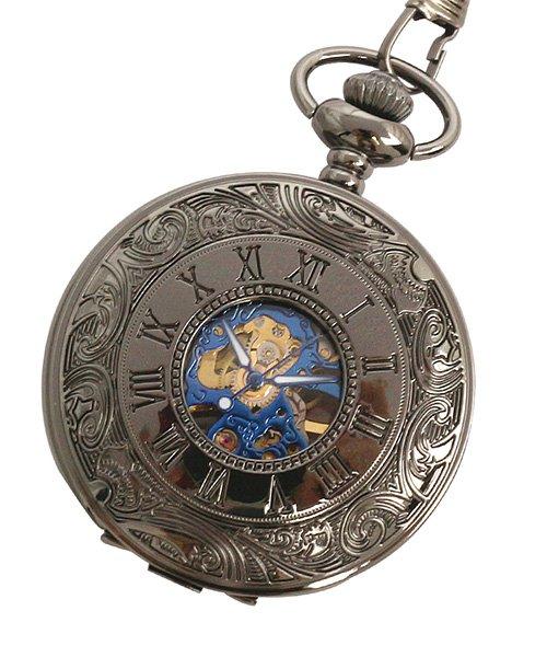 (SP/エスピー)懐中時計 PWA007−BKBL ポケットウォッチ 手巻き 機械式時計 メンズ時計/メンズ ブラック系
