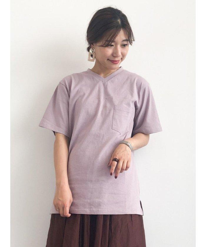 (KOE/コエ メンズ)オーガニックコットンVネックバインダーTシャツ/メンズ ピンク