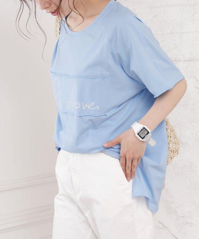 (Girly Doll/ガーリードール)【Girly Doll】ロゴTシャツ/レディース ライトブルー