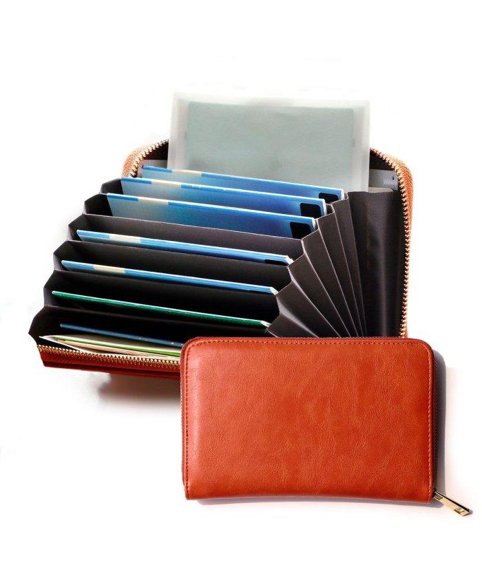 (exrevo/エクレボ)通帳ケース パスポートケース おしゃれ ジャバラ 磁気防止 レディース レザー調 通帳カバー シンプル 銀行 ゆうちょ 通帳入れ カードケース かわいい おすす/ユニセックス ダークオレンジ