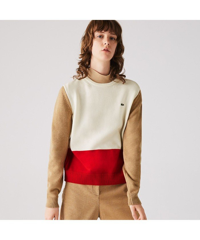 (LACOSTE/ラコステ)Made in France カラーブロックウールセーター/レディース ホワイト