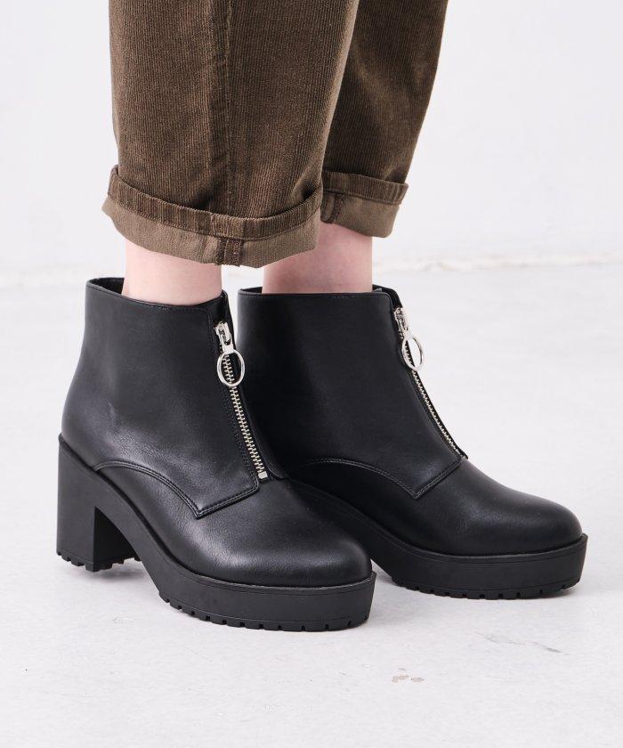 (ORiental TRaffic/オリエンタルトラフィック)ジップ厚底ブーツ/1401/レディース ブラック