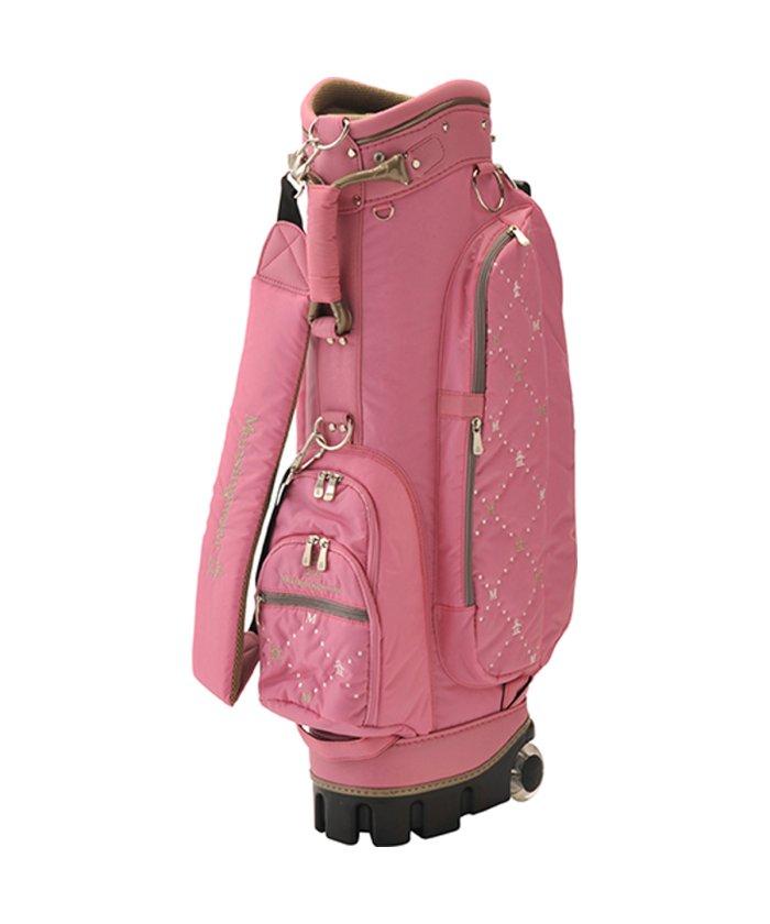(Munsingwear/マンシングウェア)マンシングウェアロゴ刺繍ナイロンキャディバッグ(キャスター付き)/レディース ピンク系