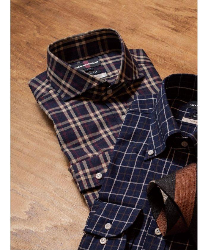 (TAKA-Q/タカキュー)超長綿100% スリムフィット カッタウェイ長袖シャツ/メンズ ネイビー