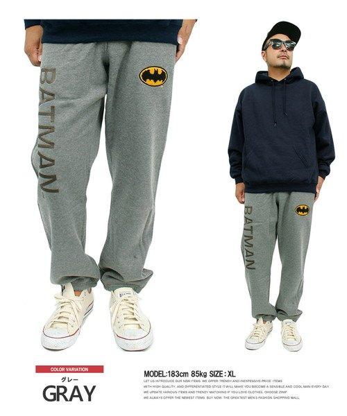(one colors/ワンカラーズ)バットマン(BAT MAN) スウェットパンツ メンズ ロゴ プリント 裏起毛 ウエストゴム イージーパンツ スウェット アメコミ ワーナーブラザース ルームウ/メンズ グレー