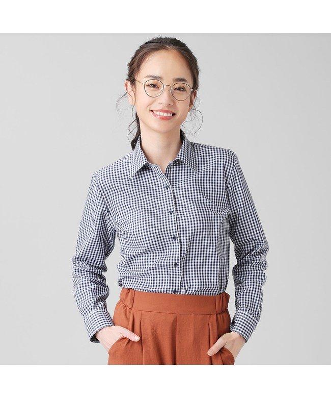 (TOKYO SHIRTS/トーキョーシャツ)シャツ 長袖 形態安定 レギュラー衿 再生ポリエステル レディース ウィメンズ/レディース ブルー