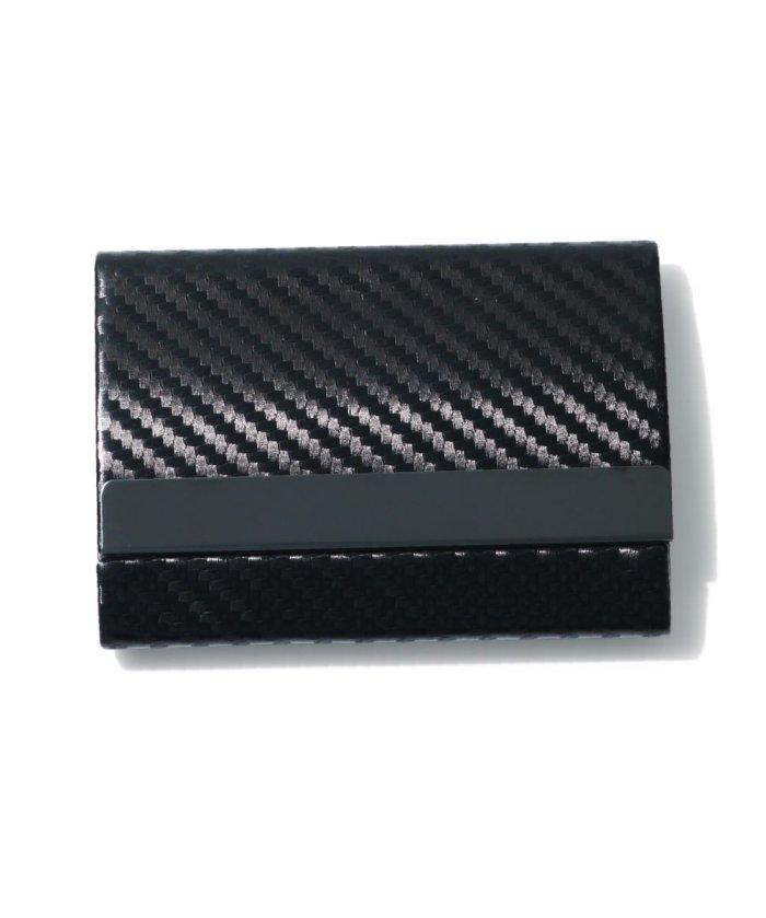 (exrevo/エクレボ)カードケース メンズ スキミング防止「 両面収納 カーボンレザー 名刺入れ 」スリム レディース おしゃれ ピンク クレジットカード 磁気防止 ハードケース 大/ユニセックス ブラック