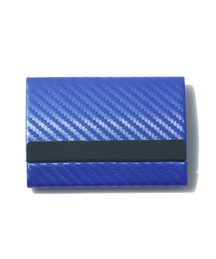 (exrevo/エクレボ)カードケース メンズ スキミング防止「 両面収納 カーボンレザー 名刺入れ 」スリム レディース おしゃれ ピンク クレジットカード 磁気防止 ハードケース 大/ユニセックス ブルー