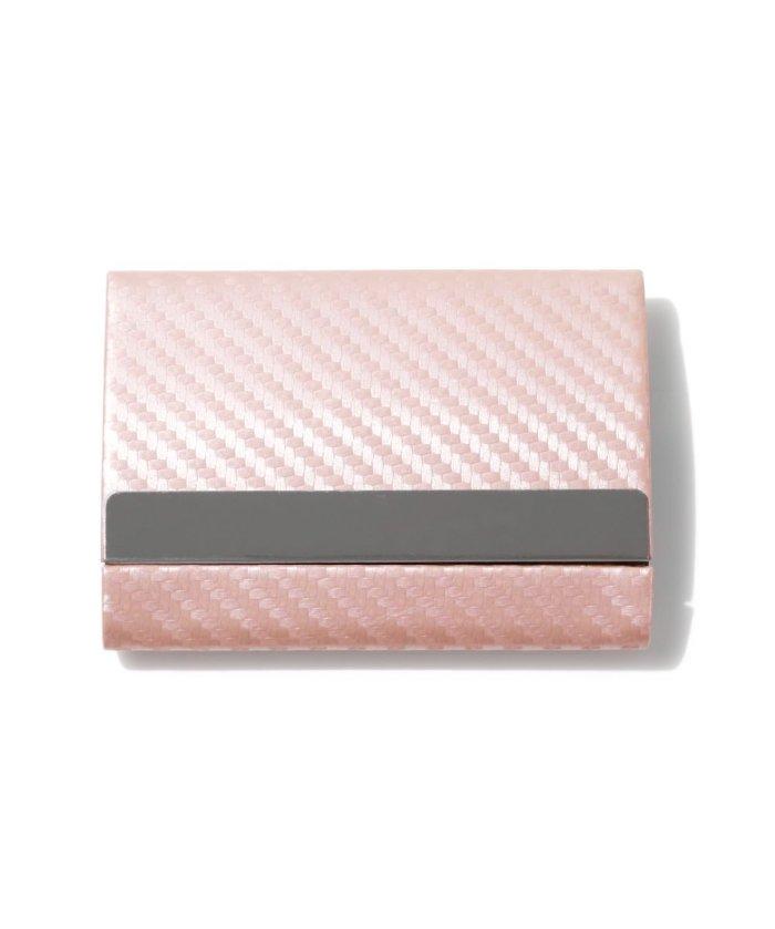 (exrevo/エクレボ)カードケース メンズ スキミング防止「 両面収納 カーボンレザー 名刺入れ 」スリム レディース おしゃれ ピンク クレジットカード 磁気防止 ハードケース 大/ユニセックス ピンク