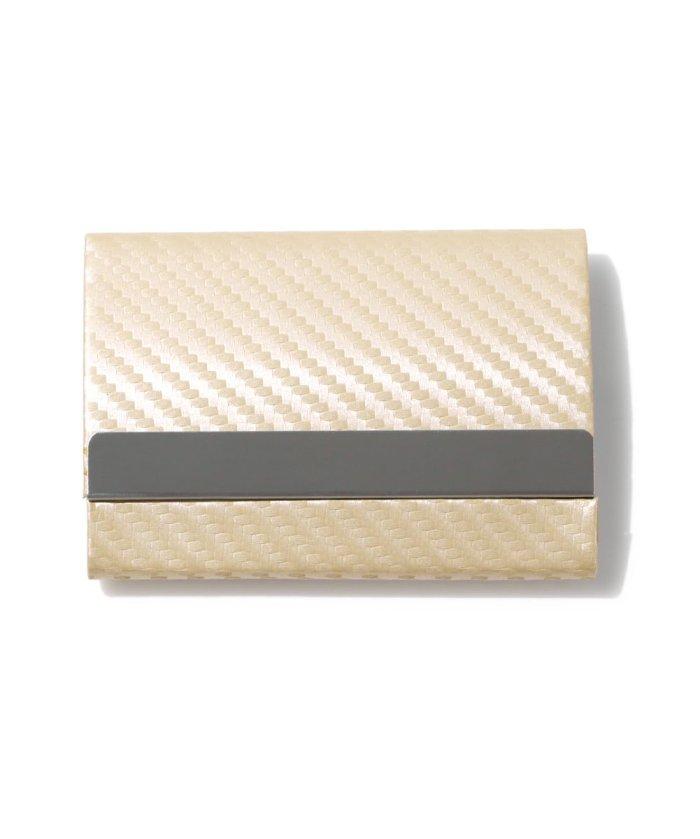 (exrevo/エクレボ)カードケース メンズ スキミング防止「 両面収納 カーボンレザー 名刺入れ 」スリム レディース おしゃれ ピンク クレジットカード 磁気防止 ハードケース 大/ユニセックス シルバー