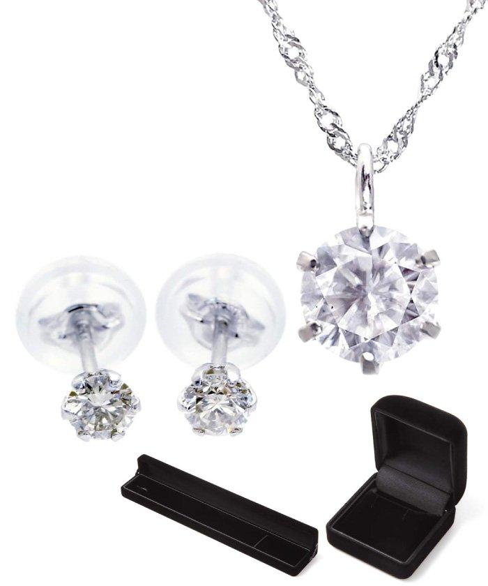 (JEWELRY SELECTION/ジュエリーセレクション)期間限定福袋!PT 天然ダイヤモンド 0.3ct 6本爪 プラチナネックレス & Pt900 天然ダイヤモンド 計0.2ct 6本爪 スタッドピアス/レディース プラチナ