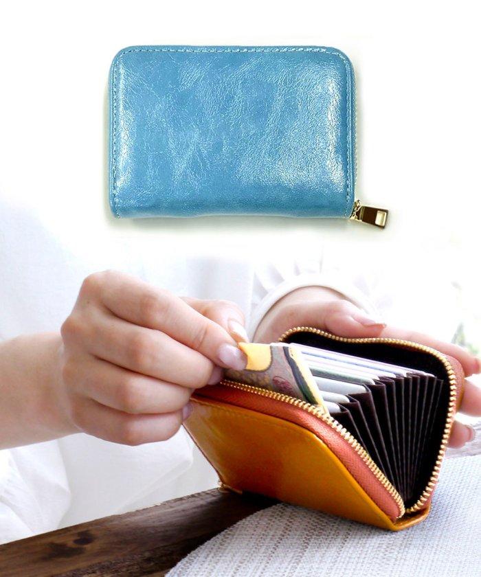 (exrevo/エクレボ)カードケース じゃばら かわいい スリム 薄型 大容量 レディース メンズ カード入れ シンプル 「PUレザー ジャバラ 名刺入れ」 革 ポイントカード 大容量/ユニセックス ブルー