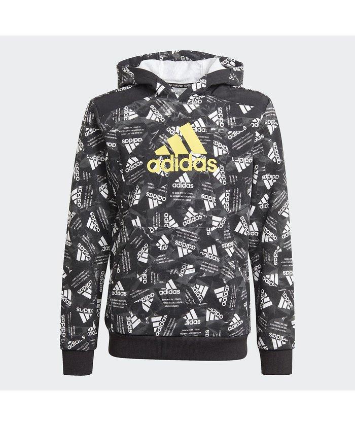 (adidas/アディダス)アディダス/キッズ/ロゴ パーカー / Logo Hoodie/ ブラック/イエロー/マルチカラー