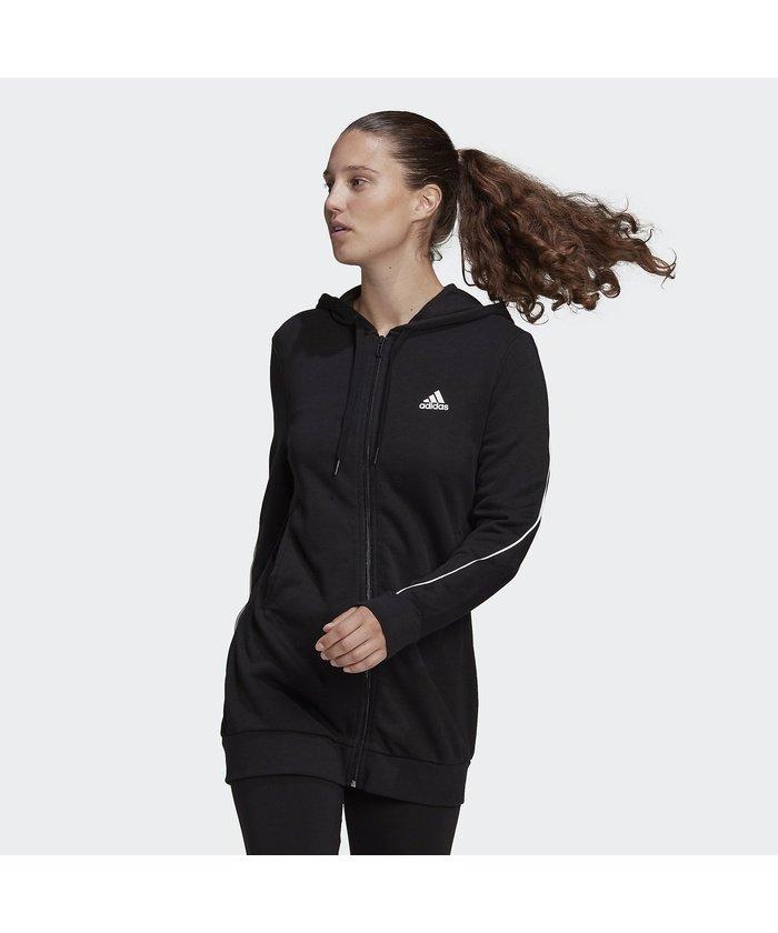 (adidas/アディダス)アディダス/レディス/アディダス エッセンシャルズ ジャイアント ロゴ フルジップパーカー / adidas Essentials Giant Logo Ful/レディース ブラック/ホワイト