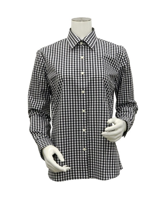 (TOKYO SHIRTS/トーキョーシャツ)シャツ 長袖 形態安定 レギュラー衿 再生ポリエステル レディース ウィメンズ/レディース クロ・グレー