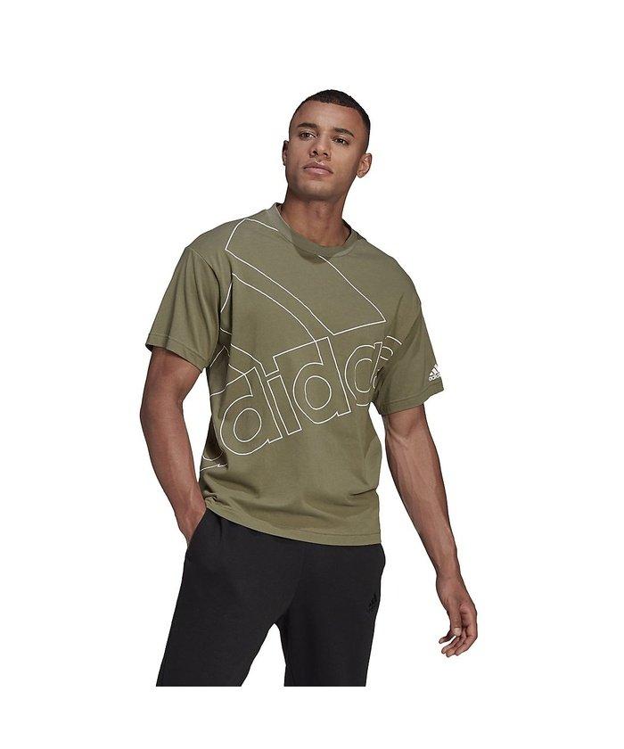 (adidas/アディダス)アディダス/メンズ/ジャイアントロゴ 半袖Tシャツ(ジェンダーニュートラル)/ Giant Logo Tee (Gender Neutral)/メンズ レガシーグリーン/ホワイト