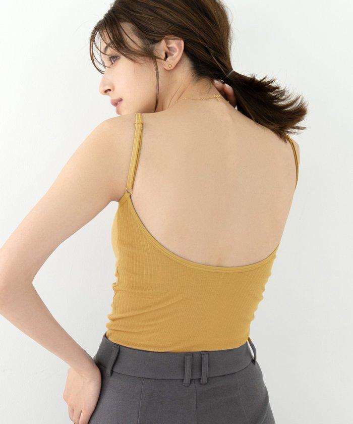 (tu-hacci/ツーハッチ)カップ付き バックオープンブラトップ キャミソール ノンワイヤー バックシャン ブラ ルームウェア シャツ パーティー ドレス 背中見せ 背中あき 結婚式/レディース マスタード
