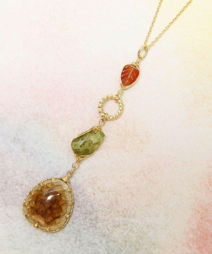 (WYTHECHARM/ワイスチャーム)K14GF イエベ秋カラー天然石ネックレス/レディース グリーン