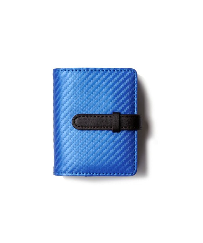 (exrevo/エクレボ)カードケース メンズ レディース カーボンレザー 名刺入れ スリム メンズ 40枚 縦型 大容量 両面収納 バイカラー 46枚以上 大量収納 マイナンバーカード/ユニセックス ブルー×グレー