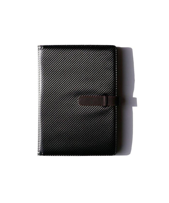 (exrevo/エクレボ)カーボンレザー マルチケース バインダー A4 クリップボード かわいい 革 おしゃれ ファイル 手帳カバー 母子手帳ケース 二つ折り シンプル 大きい 大きめ/ユニセックス ブラック