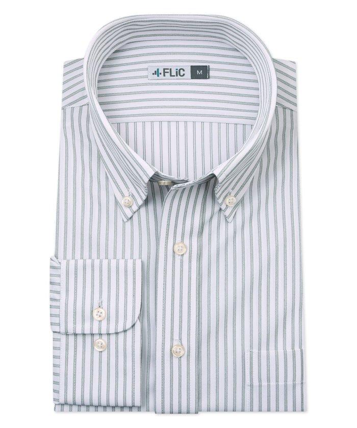 (FLiC/フリック)時短シャツ ノーアイロン ワイシャツ ニットシャツ ストレッチ ポロシャツ メンズ シャツ ビジネス ボタンダウン ストライプ yシャツ カッターシャツ 長袖/メンズ その他