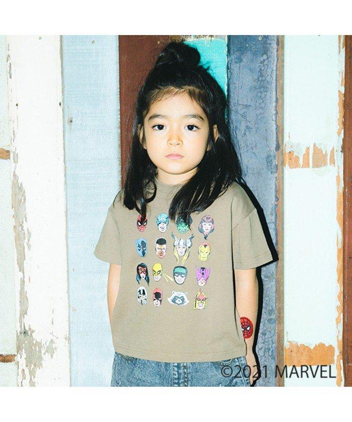 (RADCHAP/ラッドチャップ)【MARVEL COMICS】キャラクター勢ぞろいTシャツ/キッズ ブラウン