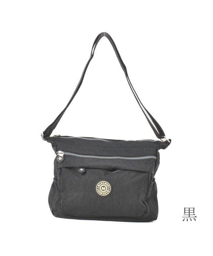 (RM STORE/アールエムストア)ショルダーバッグ バッグ 鞄 かばん レディース ナイロン 軽量 ワッペン カジュアル 黒 青 緑 Z/レディース ブラック