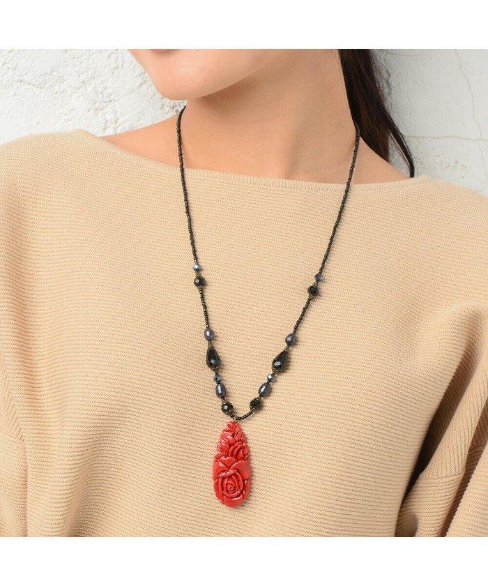 (RM STORE/アールエムストア)日本製 ネックレス ペンダント 赤 血赤珊瑚風 珊瑚風 真紅 レッド 薔薇 バラ ばら ローズ N/レディース その他