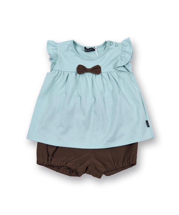 (BeBe/ベベ)Aライ ンTシャツ ギンガム かぼちゃ パンツ ベビー ギフトセット(80〜90/キッズ グリーン系