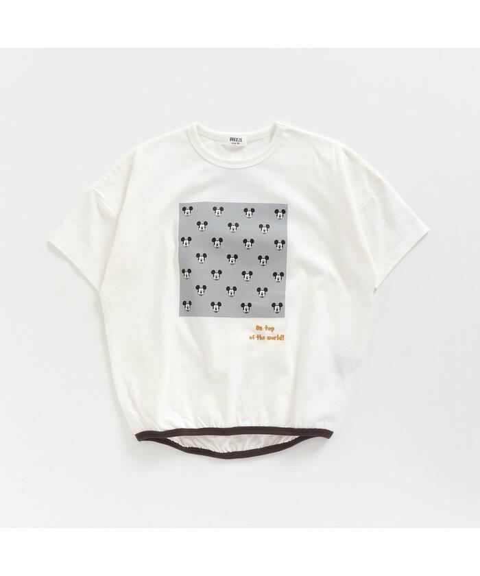 (BREEZE/ブリーズ)ディズニーキャラクター裾絞りTシャツ/キッズ オフホワイト