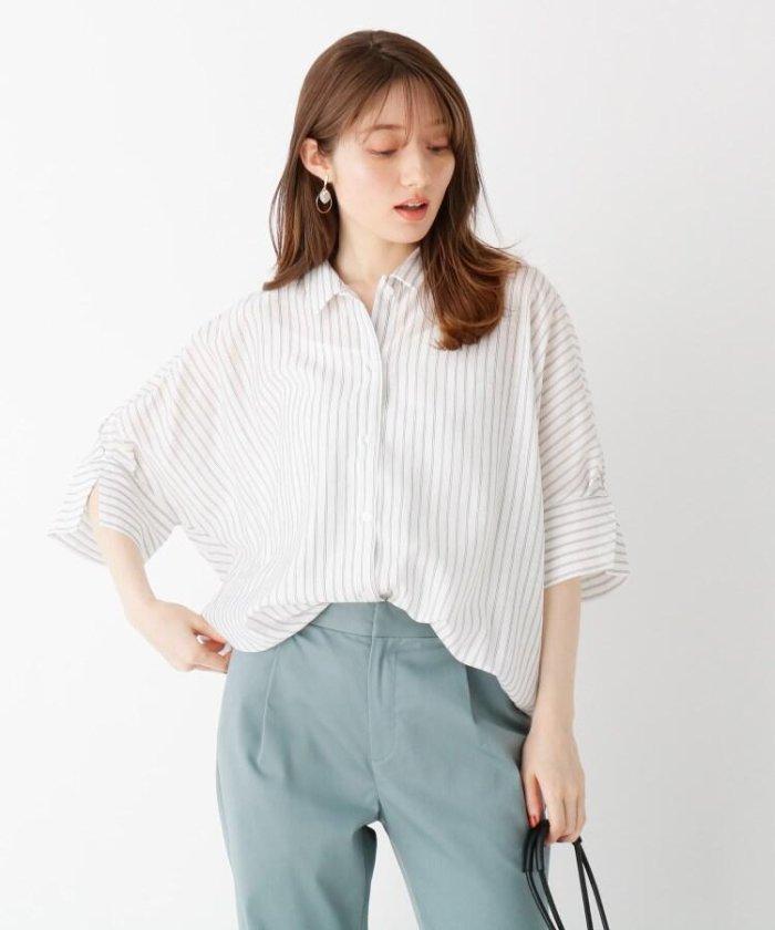 (index/インデックス)シアーリネンMIXカシュクール2WAYシャツ【WEB限定サイズ】/レディース ホワイト(302)