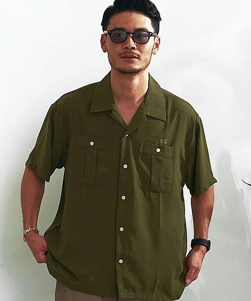 (VICCI/ビッチ)VICCI バックロゴ刺繍入りボーリングシャツ メンズ 半袖 ボウリングシャツ おしゃれ オープンカラー 開襟 【B】/メンズ カーキ
