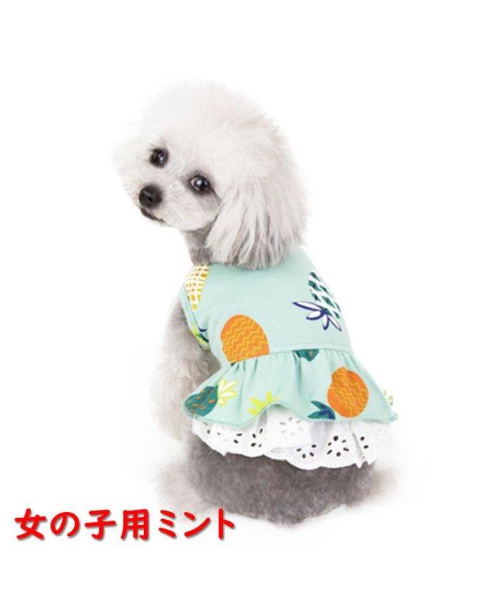 (mowmow/マウマウ)犬 犬服 犬の服 女の子用 男の子用 ワンピース スカート パイナップル かわいい dcos0029/ユニセックス ミント