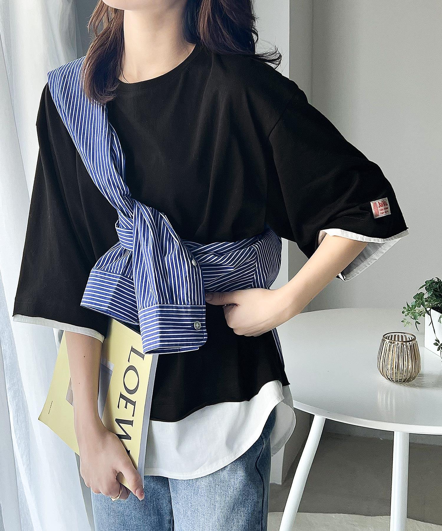 レイヤード風 ミドル丈・無地クルーネックTシャツ(半袖)